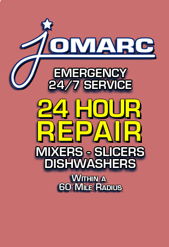 Jomarc Emergency 24/7 Service. Hobart 24 Hour Repeair for mixers, slices, dishwashers, within a 60 mile radius