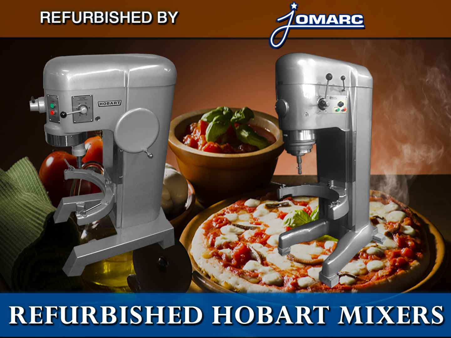 Save thousands by buying a refurbished mixer by Jomarc. Jomarc refurbishes used Hobart mixers to original factory finish. They are guaranteed and in pristine condition. We will ship to US, Canada, Quebec & France. Freight Shipping Rates added to price. Click here for more information